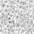 Seamless pattern with contour black-and-white flowers — Stock Vector #72530841