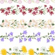 Seamless pattern brush with stylized bright summer flowers. Wild flowers - dangelion, daisy, campanula and others — Stock Vector #72532311