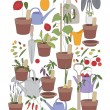 Seamless vertical pattern with gardening tools, flower pots,herbs and vegetables. — Stock Vector #73637611