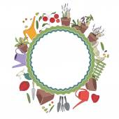 Round frame with gardening tools and plants. Herbs, vegetables and accessories for farming — Stock Vector