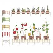 Flower pots with cultivated flowers. Decorative fence. — Stock Vector