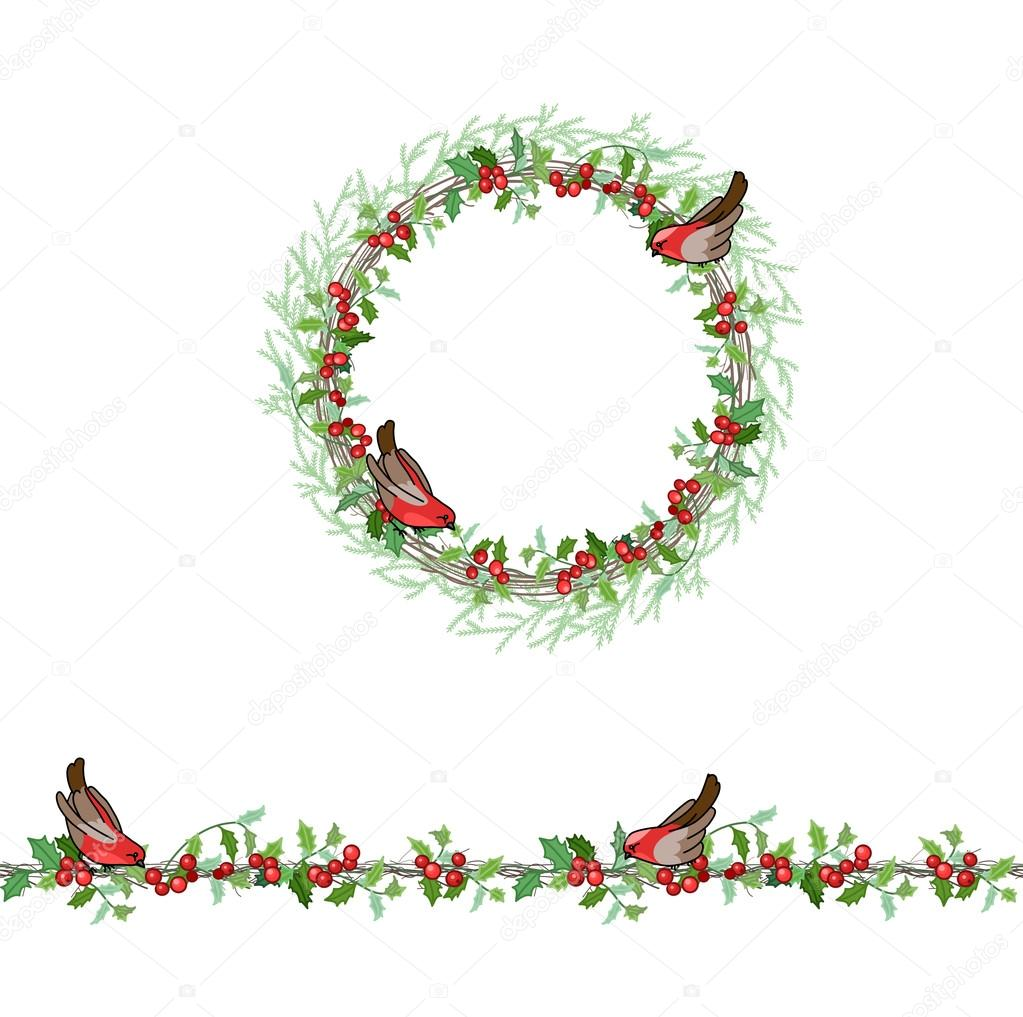 Round frame with decorative branch vector illustration stock - Christmas Template With Bullfinches And Red Beries Round Frame With Fir Branches Stock Illustration