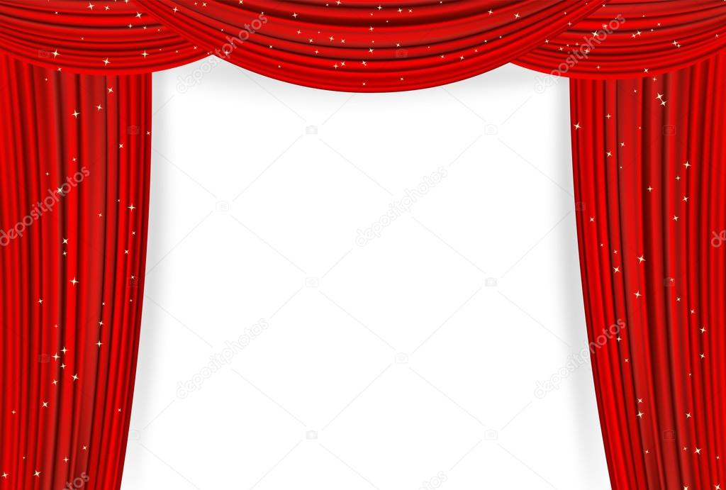 Open Red Curtains With Stars On White Background. Theater