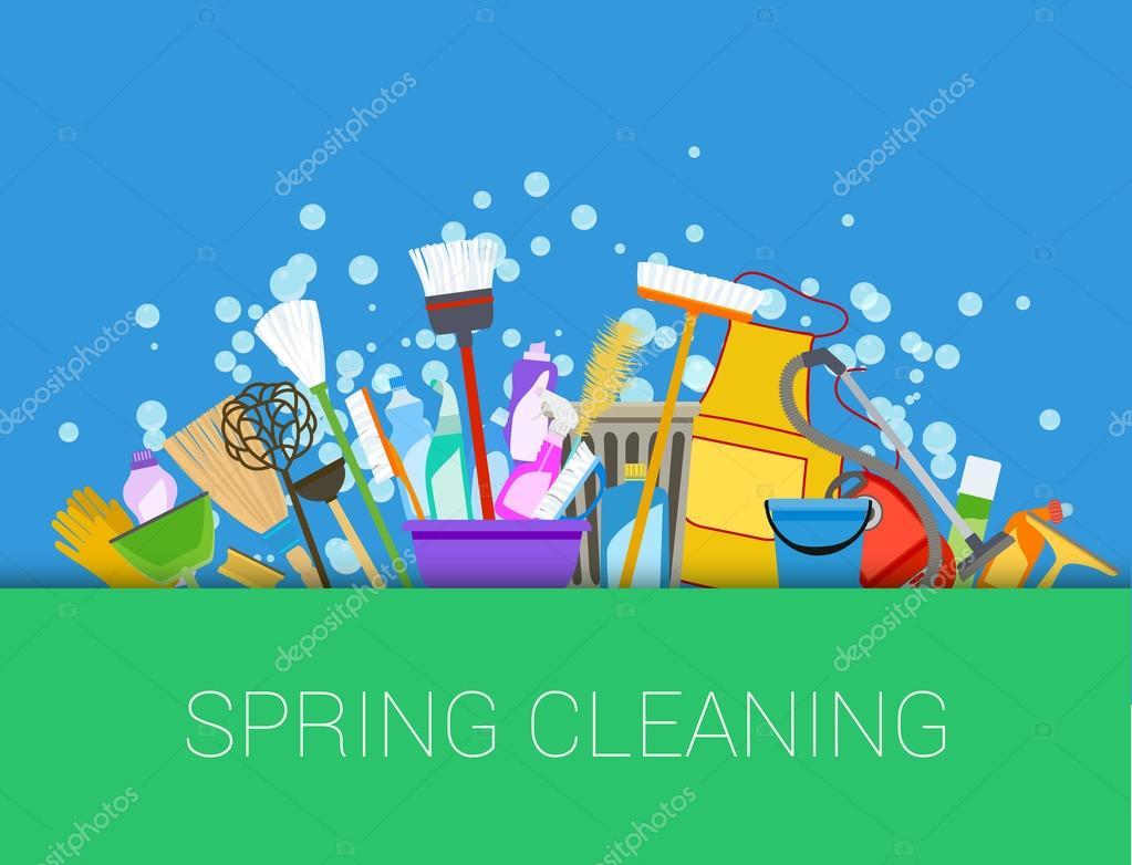 Limpieza a fondo de primavera conjunto de art culos de - Limpieza a fondo casa ...