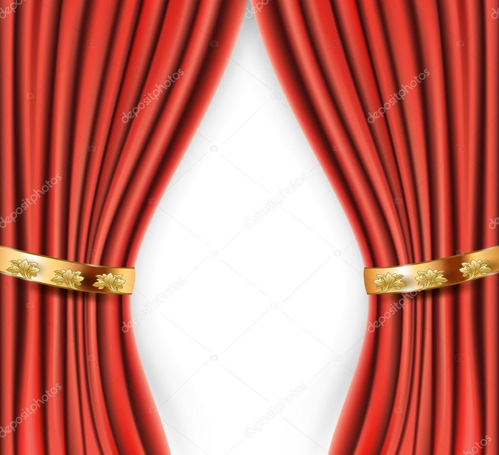 rote satin gardinen mit goldenem hintergrund stockvektor ghenadie 57947339. Black Bedroom Furniture Sets. Home Design Ideas