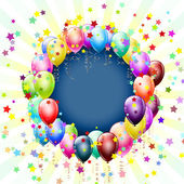 Frame with balloons and stars background — Vector de stock