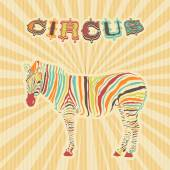 Zebra with color stripes as circus illustration  — Stock Vector