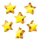 3d golden little bright stars set with variations — Stock Vector