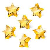 3d little golden star set with variations — Stock Vector