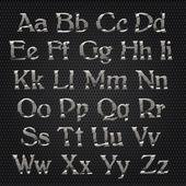 Chrome alphabet on metallic grid background — Vector de stock