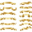 Set of golden ribbons on white — Stock Vector #72320079