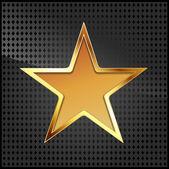Векторная иллюстрация золотой звезды на черной металлической сетки — Cтоковый вектор