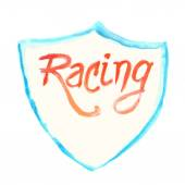 Watercolor racing symbol with shield — Stock Vector