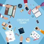 Zakelijke bijeenkomst en brainstormen. — Stockvector