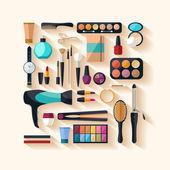 Narzędzia do makijażu. — Wektor stockowy