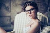 Retrato da moda da mulher jovem — Foto Stock
