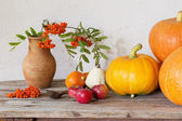 Pumpkin with berries on wooden table — Stock Photo