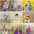 Collage of children outdoor — Stock Photo #53013841