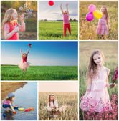 Collage with  happy children — Stock Photo