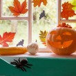Halloween Dekoration am Fenster — Stockfoto #53603173