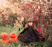 Little girl in halloween costume with jack pumpkin — Stock Photo