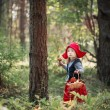 Little Red Riding Hood in the woods — Stock Photo #56967921