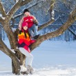 Happy children in winter park — Stock Photo #59334313