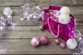 Christmas lights and balls on a wooden background with copy spac — 图库照片