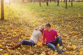 Romantyczna para w parku jesień — Zdjęcie stockowe