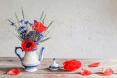 Still life with poppies and cornflower — Foto de Stock