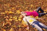 романтическая пара в осенний парк — Стоковое фото