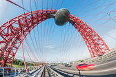 Zhivopisny Bridge spans Moscow River — Stock Photo