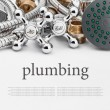 All kinds of plumbing and tools on a gray background — Stock Photo #53217905
