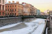 Canal Griboedov in Saint-Petersburg winter morning — Foto Stock