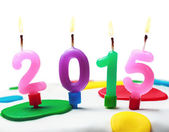 Burning candles with the symbol of the new year 2015   — Stock Photo