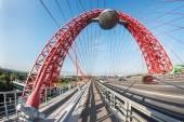 Zhivopisny Bridge spans Moscow Rive — Stock Photo