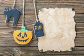 Old paper with Halloween cookies — Zdjęcie stockowe