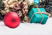 Christmas balls and gifts   — Stock Photo