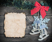 Christmas toys and old Paper — Stock Photo