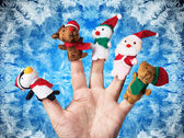 Christmas toys put on hand — Stock Photo