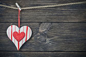 Valentine's Day Heart hanging on rope — Foto de Stock