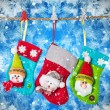 Christmas socks on rope — Stock Photo #59755269