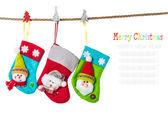 Christmas stocking   on rope — Stock Photo