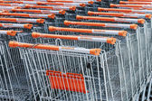Shopping carts in hypermarket OBI — Foto Stock