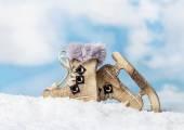 Christmas wooden toys skates — Foto de Stock