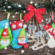 Christmas socks hanging on rope — Stock Photo #60183207