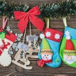 Christmas socks hanging — Stock Photo #60183219