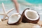 Coconut on the beach — Stock Photo