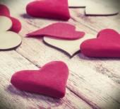 Wood and felt hearts — Stock Photo
