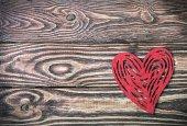 Red felt  heart — Stock Photo